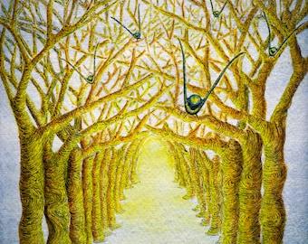 Watercolour Tree Art, Birds in flight, Tree Wall Art, Watercolour Bird Painting, Signed Print, Signed Bird Art, Avenue of Trees Painting,