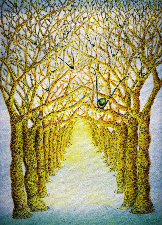 Watercolour Tree Art, Birds in flight, Tree Wall Art, Watercolour ...