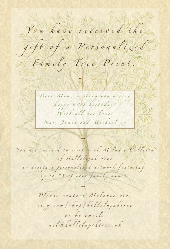 Family Tree Print, Family Tree Voucher, Custom Family Tree, Personalised Mum, Gift for Parents, Gift for Grandparents, Wedding Gift,