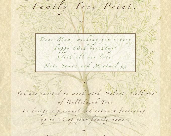 Family Tree Printable jpg, Family Tree Voucher, Custom Family Tree, Personalised Mum, Gift for Parents, Gift for Grandparents, Wedding Gift,