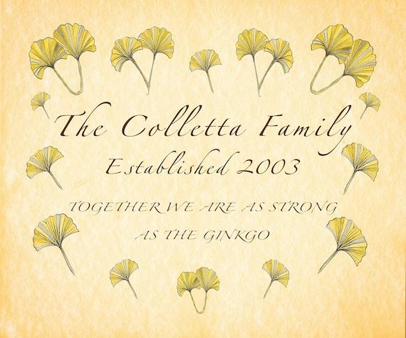 Family Name Print, Personalized Family Sign, Personalised Surname Print, Ginkgo print, Personalised Anniversary, Parent Grandma Custom Gift,