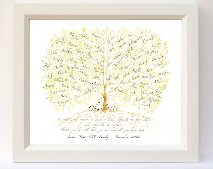 Teacher, boss or mentor personalised framed Christmas gift with student or coworker names.