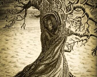 Wuthering Heights Print, Pencil Drawing Print, Sepia Art Print, Woman Art Print, Signed Tree Art, Abstract Tree Print, Sepia Wall Art