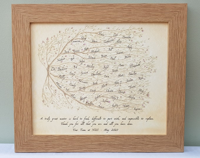 Framed Art featuring names of colleagues making perfect present for boss, mentor or teacher on their retirement, promotion or furlough