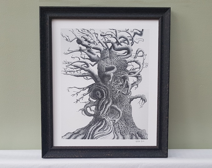 Limited edition framed art print of abstract tree pencil drawing.  Inspired by Wuthering Heights. Framed signed nature giclee print