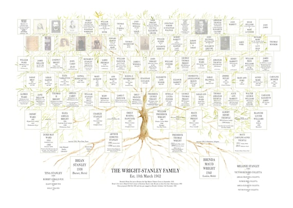 5-6 Generations Fixed Layout Ancestry Chart with space for dates and places of birth.  Personalised Custom Family Tree Print.
