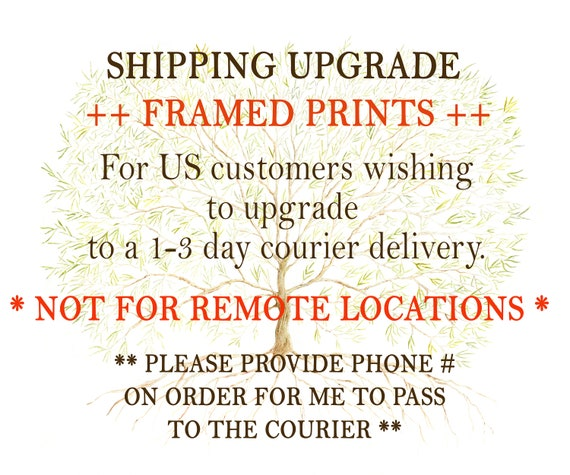 US SHIPPING UPGRADE for Family Tree Framed Prints - Upgrade to 1-3 day Courier Service (excludes remote locations)