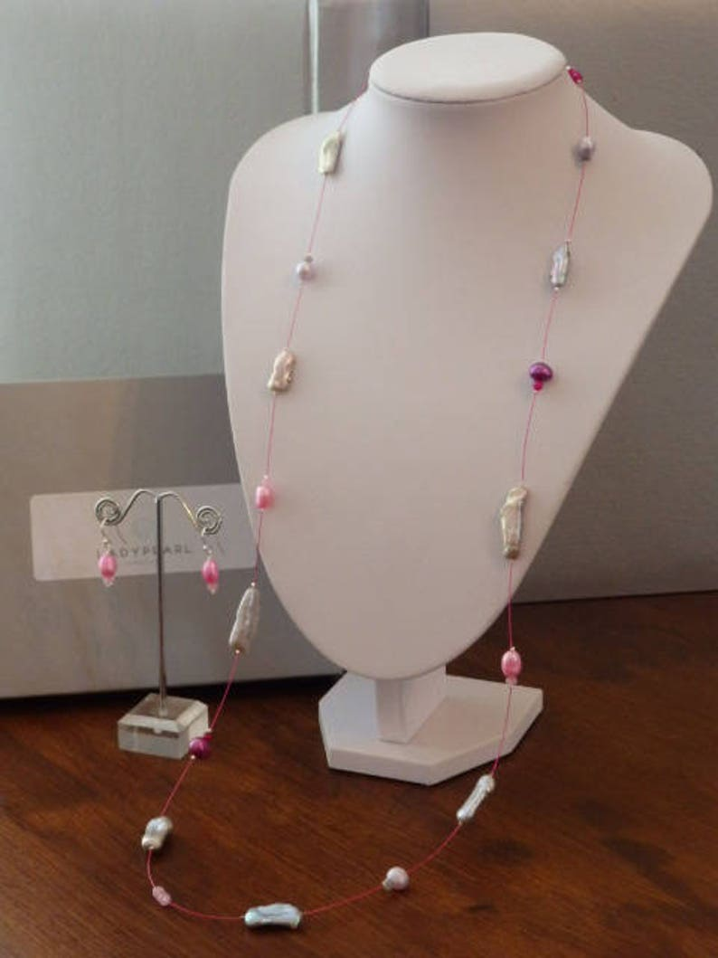 Contemporary Pearl Jewellery Pink Pearl Earrings Long Pearl Necklace Pink Pearl Necklace