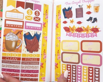 AMBER FALL 2 sheet mini kit Stickers (Perfect for traveler notebooks/ personal planners/ white space look in your Erin Condren)