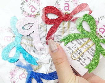 COLORED GLITTER BOWS PlannerClips/ BookMarks