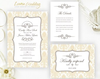 Gold Lace Wedding Invitation Set Printed Elegant Wedding Etsy