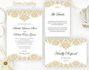 Pink and rose gold invitations packs printed on shimmer card etsy gold wedding invitation kits classic damask wedding invitations printed on shimmer card stock stopboris Image collections