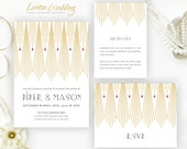 PRINTED | Gatsby wedding Invitation set  | Gold, art deco wedding invites, golden, custom wedding invitations