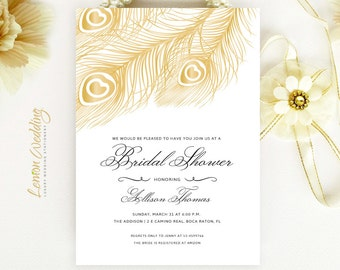 gold peacock wedding shower invitations feather bridal shower invitation printed on luxury cardstock affordable wedding invites cheap