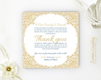 Reception Thank You Cards Printed Custom Seating Thank You Etsy