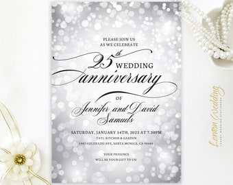 PRINTED | 25th wedding anniversary invitations | silver | 30th, 40th, 50th, 60th 70th