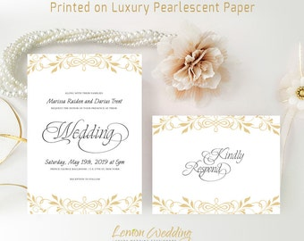 Gatsby wedding invitation kit printed gold and purple etsy simple wedding invitation sets printed on shimmer cardstock gold invitations with rsvp affordable wedding cards elegant invites filmwisefo