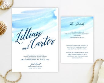 blue watercolor wedding invitations details cards printed on luxury shimmer white cardstock shimmer white envelopes - Wedding Invitation Details Card