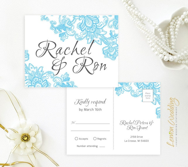 Blue And Grey Wedding Invitation Kits Printed On Shimmer Cardstock