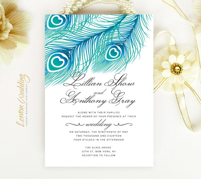 Feather Wedding Set Printed Blue Peacock Wedding Invitation With