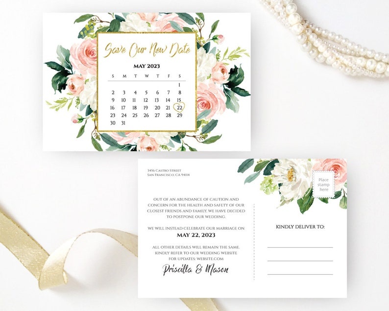 Floral calendar wedding save the date cards Postpone wedding save our new date postcards