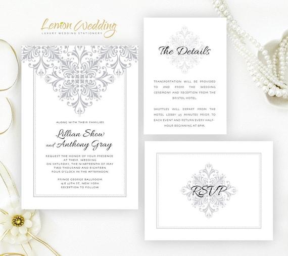 Gray wedding invitation sets printed on shimmer white etsy image 0 filmwisefo