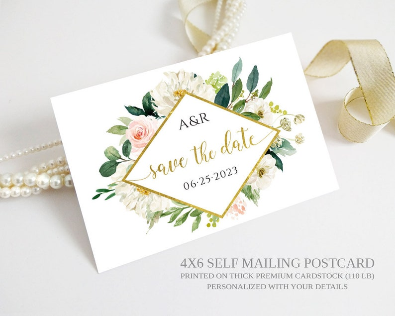 PRINTED Floral Save the Date Postcard | Custom wedding save the dates