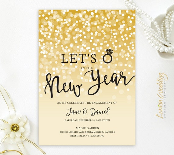 new years eve engagement party invitations printed on shimmer etsy