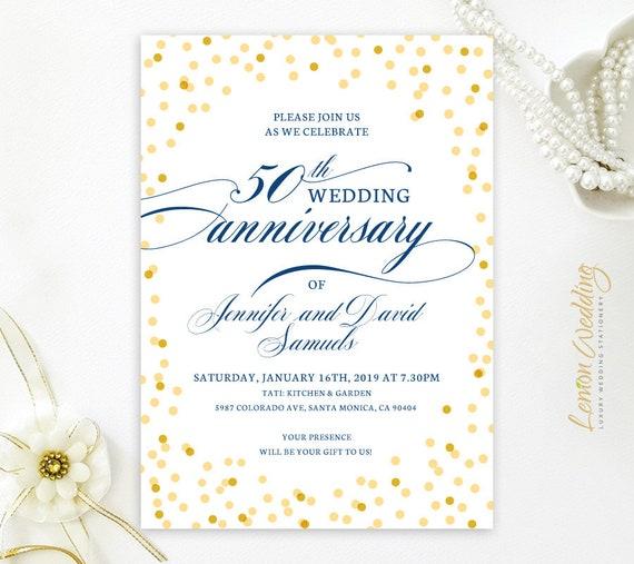 Printed 50th Wedding Anniversary Invitations 50th Anniversary Invitation Cards Personalized