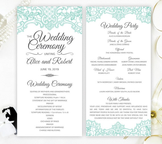 mint green lace marriage programs printed on shimmer paper etsy
