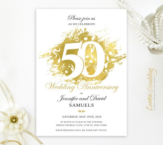 Printed Elegant 50th Wedding Anniversary Invitations Gold Wedding Celebration Any Wording Any Anniversary