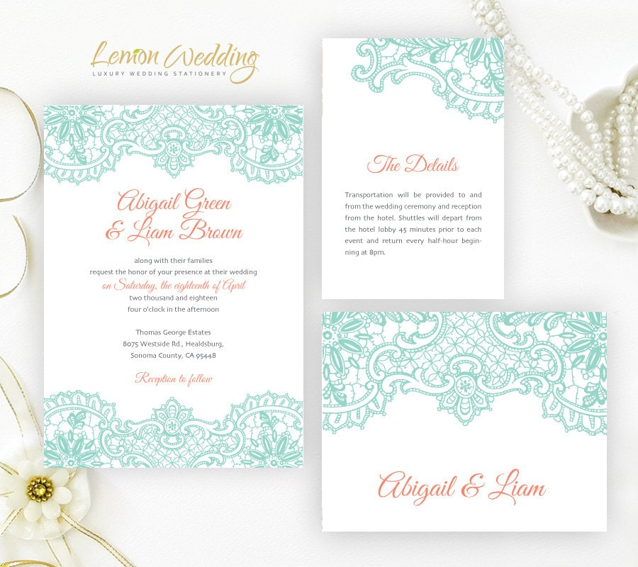Mint And Coral Wedding Invitation Sets Printed Lace