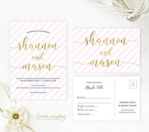 Striped wedding invitations | Blush pink and gold modern wedding invitation with RSVP postcard