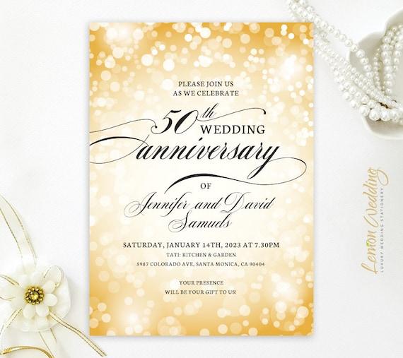 Printed Custom 50th Wedding Anniversary Invitations Printed On Premium Paper
