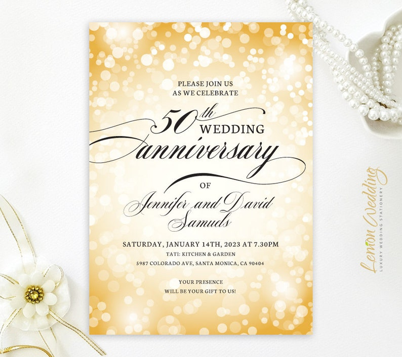 Printed Custom 50th Wedding Anniversary Invitations Printed Etsy