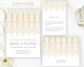 PRINTED   Gatsby wedding Invitation set    Gold, art deco wedding invites, golden, custom wedding invitations