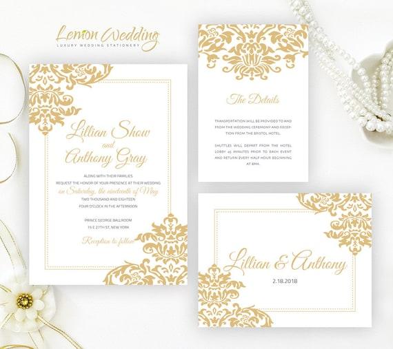 Gold Wedding Invitation Kits Printed On White Shimmer
