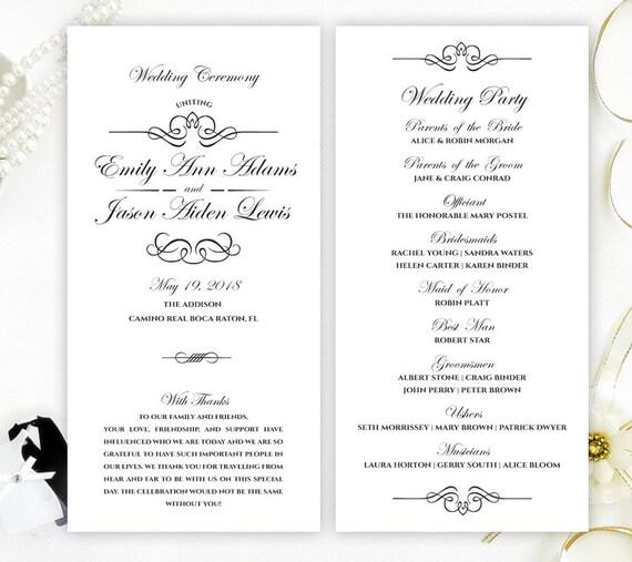 black and white wedding programs cheap programs for wedding etsy