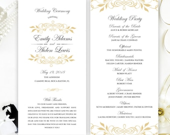 Wedding programs printed on luxury shimmer cardstock Gold