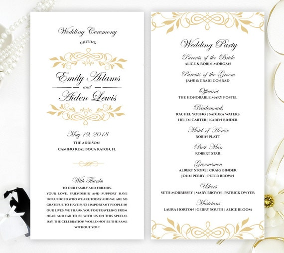 elegant marriage programs printed on luxury shimmer card etsy
