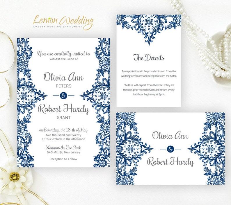 Cheap Wedding Invitations.Printed Elegant Lace Wedding Invitation Set Cheap Wedding Invites Royal Blue And Gray Wedding Invitations