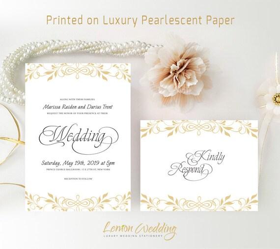 Simple wedding invitation sets printed on shimmer cardstock etsy image 0 filmwisefo