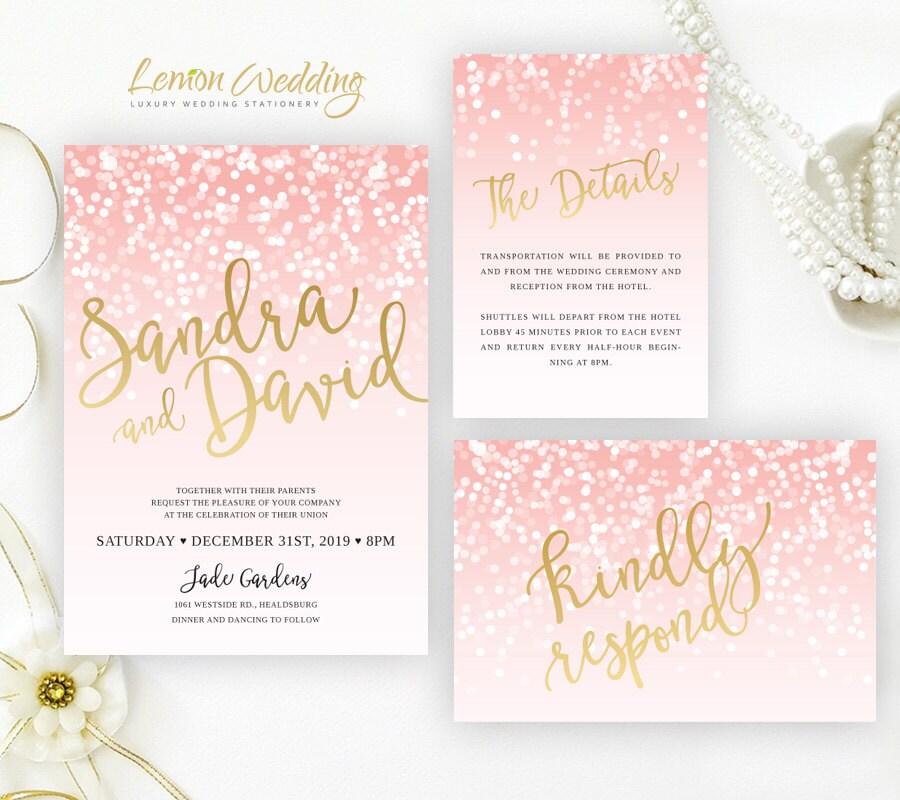 Blush Pink And Gold Wedding Invitation Sets Glitter