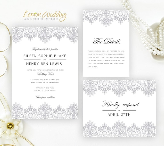 Silver Lace Wedding Invitation Kits Printed Elegant Wedding Etsy