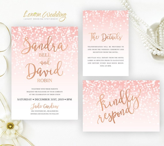 blush pink and rose gold wedding invitation sets glitter etsy