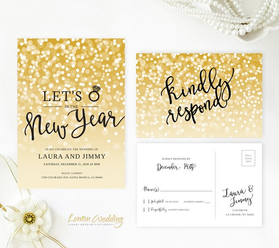 new years eve wedding invitations new year s wedding invitation with rsvp card gold etsy 6154