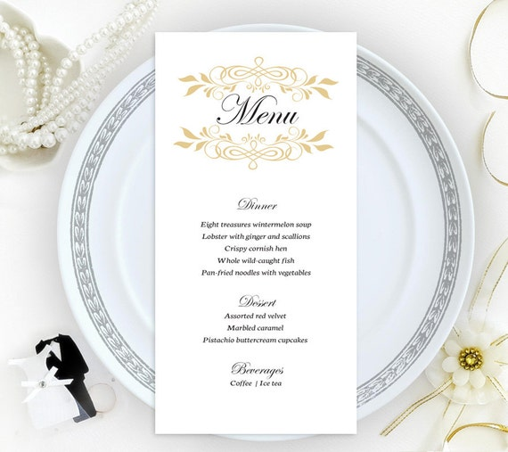 wedding menu printed on shimmer cardstock wedding menus etsy