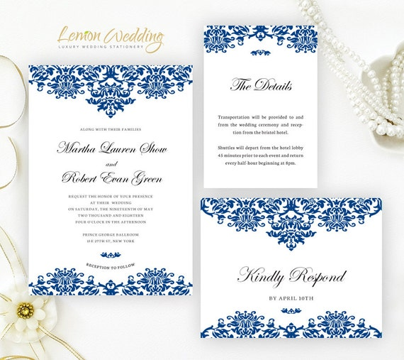 Printed Royal Blue Wedding Invitation Set Cheap Wedding Invitations Info Cards Rsvp Postcards
