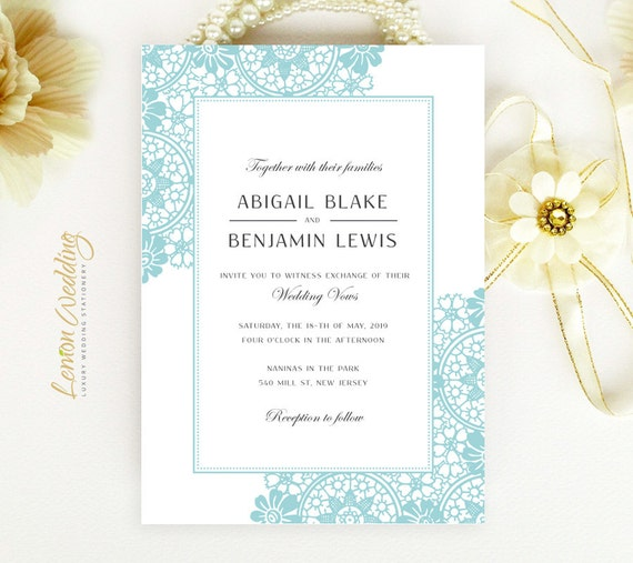 Printed Set Of 3 Cards Mint Green Wedding Invites Cheap Wedding Invitations Lace Wedding Invitation Suites