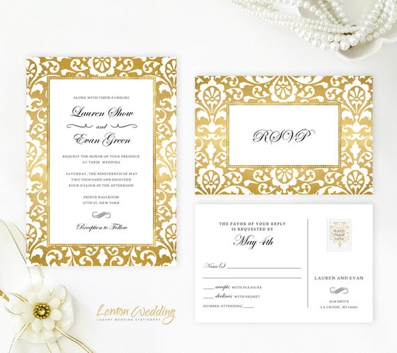 Gold Wedding Invitations Printed On Shimmer Cardstock Cheap